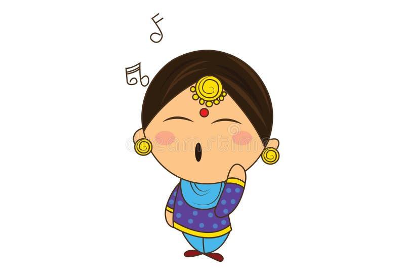 Διανυσματική απεικόνιση κινούμενων σχεδίων χαριτωμένου Punjabi Sardarni διανυσματική απεικόνιση