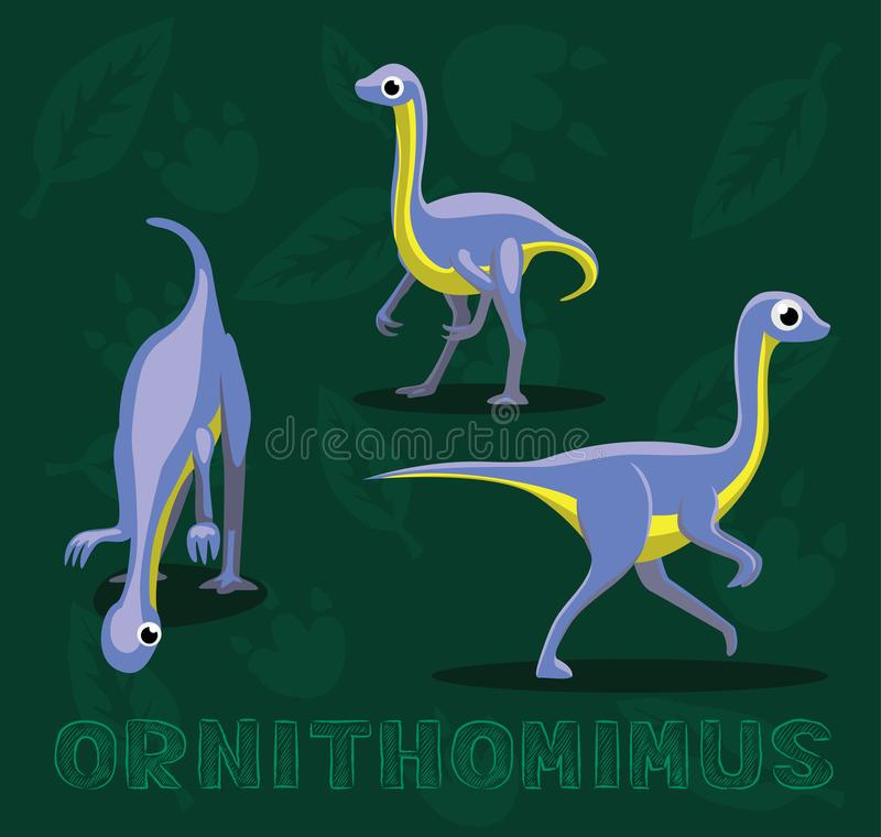 Διανυσματική απεικόνιση κινούμενων σχεδίων Ornithomimus δεινοσαύρων διανυσματική απεικόνιση
