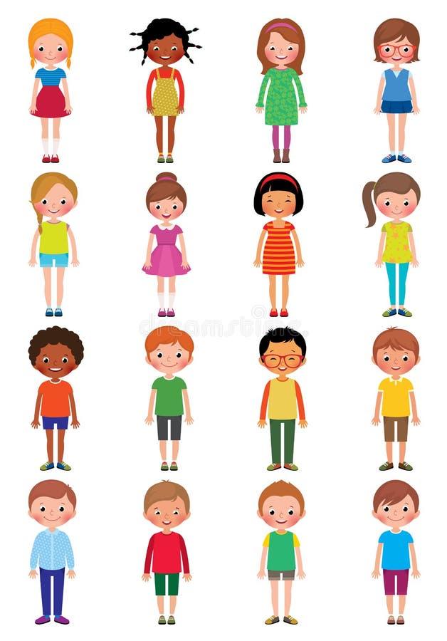 Διανυσματική απεικόνιση κινούμενων σχεδίων ενός συνόλου διαφορετικών κοριτσιών παιδιών και ελεύθερη απεικόνιση δικαιώματος