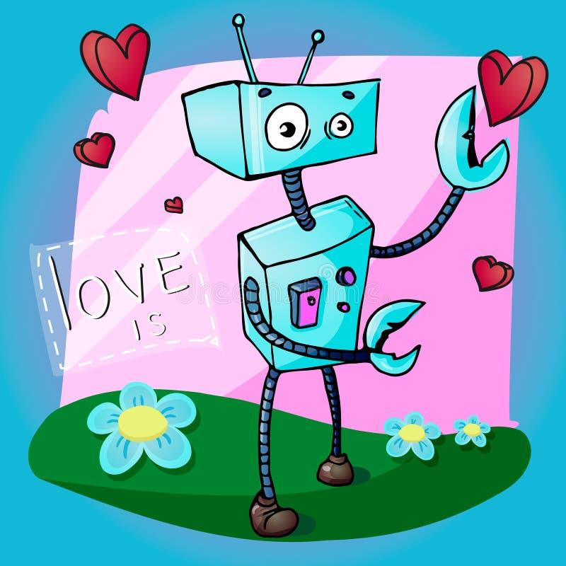 Διανυσματική απεικόνιση κινούμενων σχεδίων ευχετήριων καρτών ημέρας βαλεντίνων του αστείου ρομπότ ελεύθερη απεικόνιση δικαιώματος