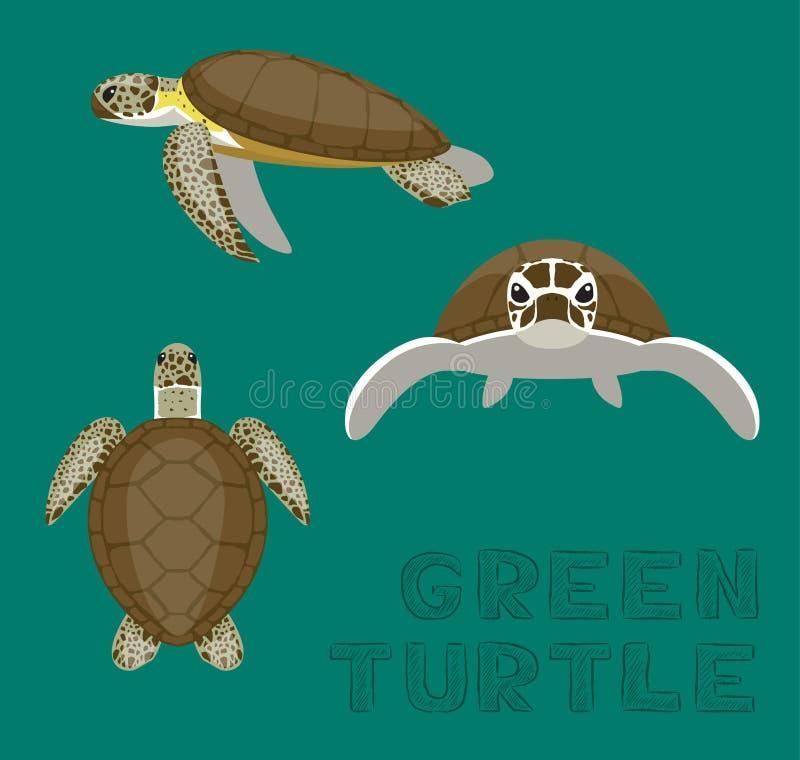 Διανυσματική απεικόνιση κινούμενων σχεδίων ηλιθίων χελωνών θάλασσας πράσινη ελεύθερη απεικόνιση δικαιώματος