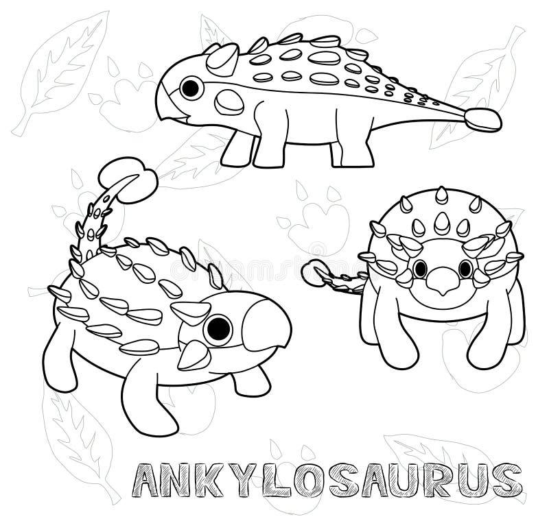 Διανυσματική απεικόνιση κινούμενων σχεδίων Ankylosaurus δεινοσαύρων μονοχρωματική ελεύθερη απεικόνιση δικαιώματος