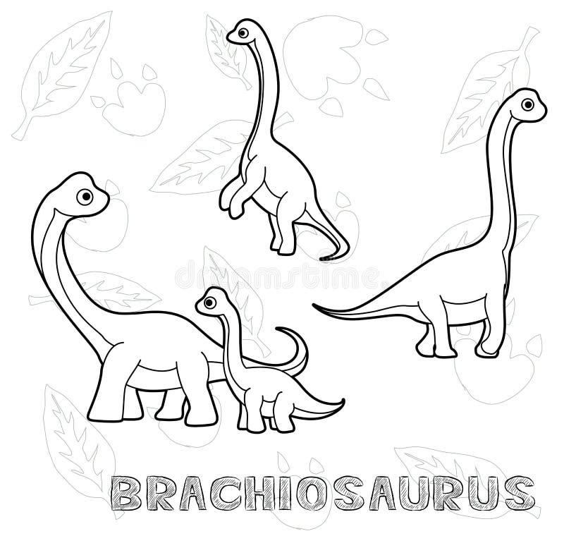 Διανυσματική απεικόνιση κινούμενων σχεδίων Brachiosaurus δεινοσαύρων μονοχρωματική διανυσματική απεικόνιση