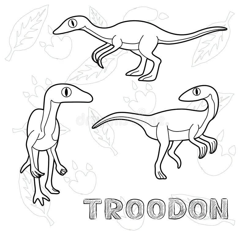 Διανυσματική απεικόνιση κινούμενων σχεδίων Troodon δεινοσαύρων μονοχρωματική ελεύθερη απεικόνιση δικαιώματος