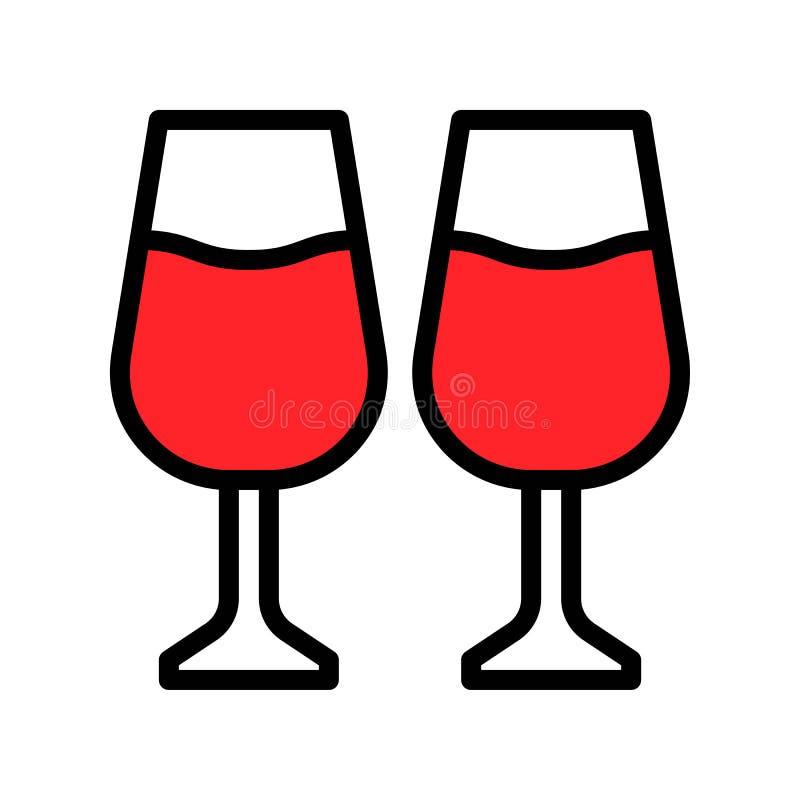 Διανυσματική απεικόνιση κρασιού, γεμισμένη editable περίληψη εικονιδίων ύφους διανυσματική απεικόνιση