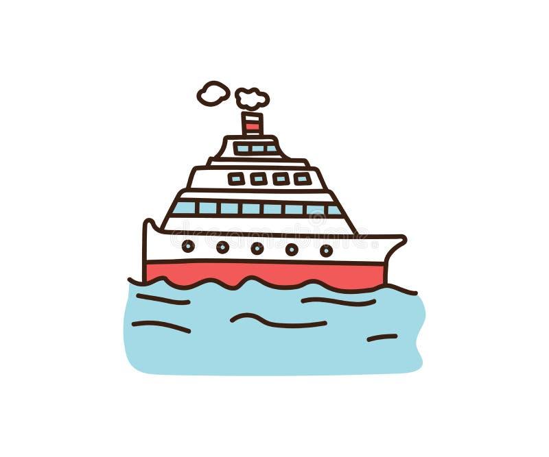 Διανυσματική απεικόνιση κρουαζιέρας doodle Συρμένη χέρι βάρκα διακοπών Αναδρομικό ύφος κινούμενων σχεδίων περιλήψεων ελεύθερη απεικόνιση δικαιώματος