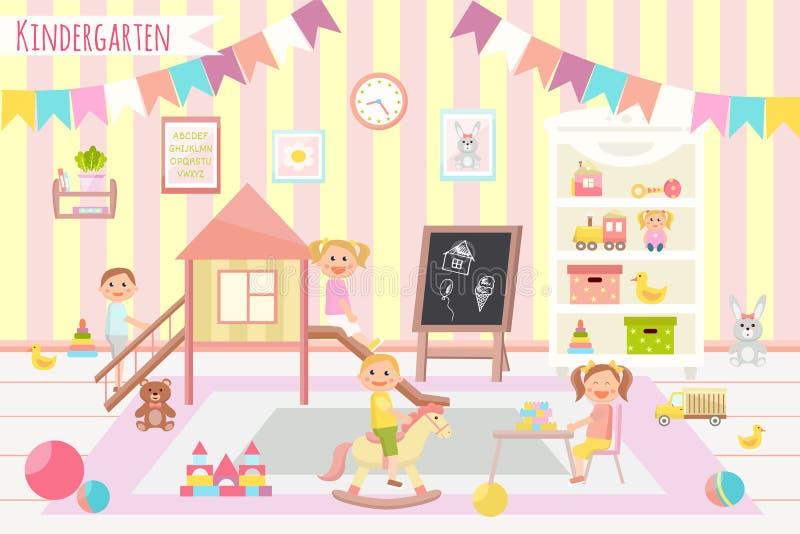Διανυσματική απεικόνιση λεσχών παιδιών kindergarten Επίπεδο σχέδιο Childr ελεύθερη απεικόνιση δικαιώματος