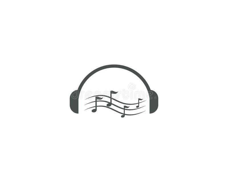 Διανυσματική απεικόνιση λογότυπων σημειώσεων μουσικής ακουστικών απεικόνιση αποθεμάτων