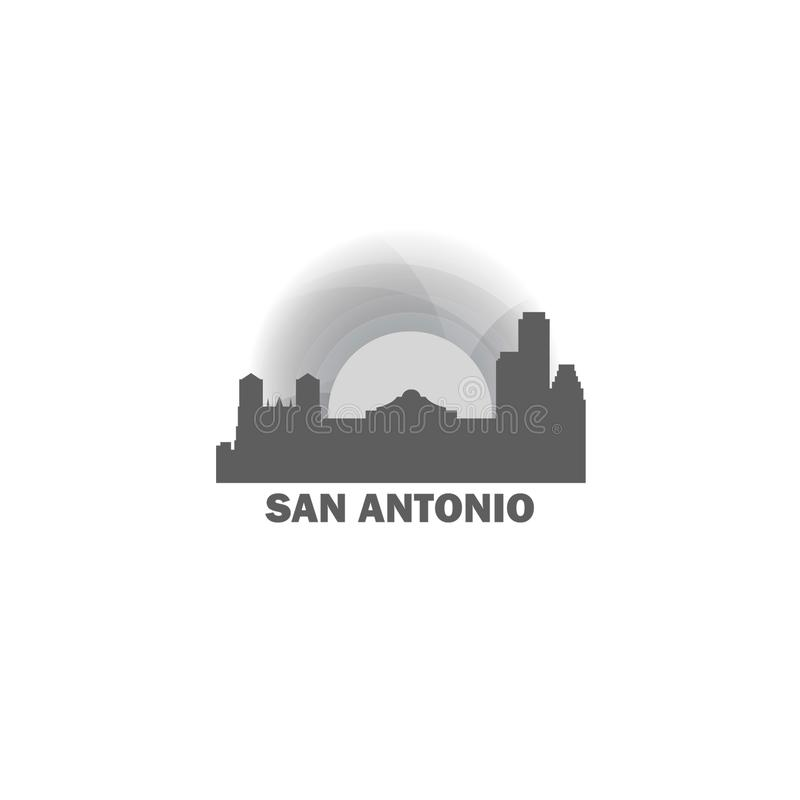 Διανυσματική απεικόνιση λογότυπων σκιαγραφιών οριζόντων πόλεων του San Antonio απεικόνιση αποθεμάτων