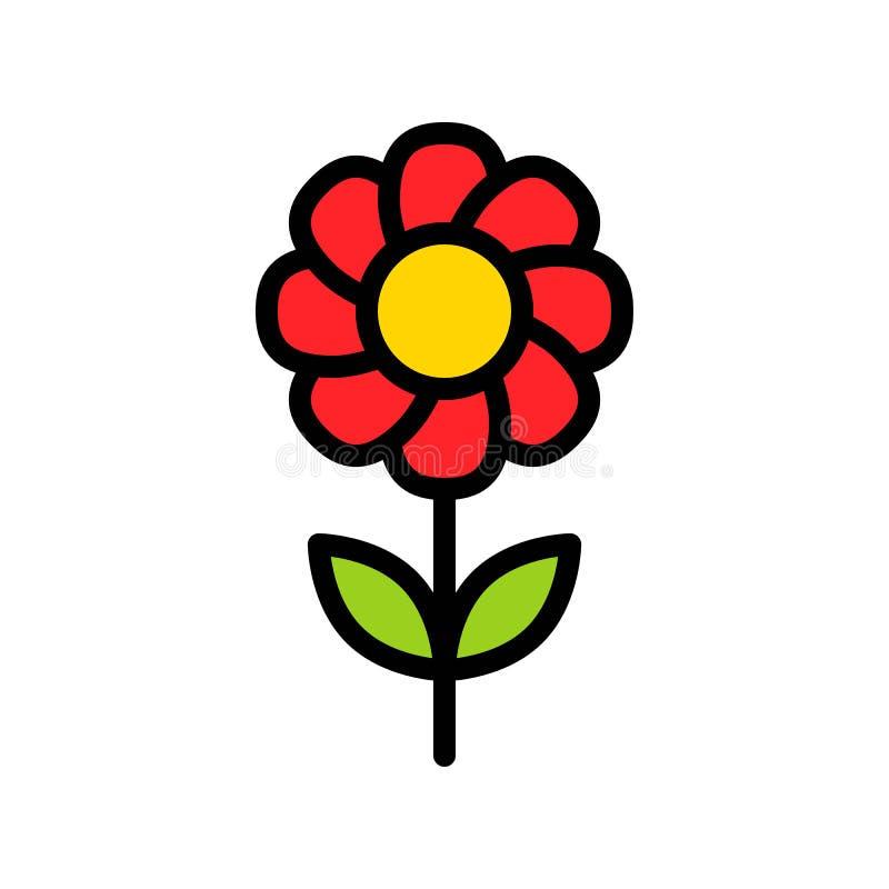 Διανυσματική απεικόνιση λουλουδιών, γεμισμένη editable περίληψη εικονιδίων ύφους ελεύθερη απεικόνιση δικαιώματος