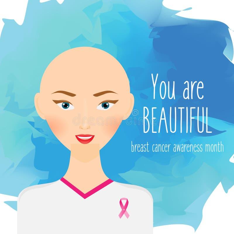 Διανυσματική απεικόνιση μήνα συνειδητοποίησης καρκίνου του μαστού Άτριχη γυναίκα με τη ρόδινη κορδέλλα στην μπλούζα και το σύνθημ απεικόνιση αποθεμάτων
