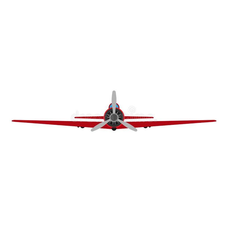 Διανυσματική απεικόνιση μεταφορών αεροσκαφών μπροστινής άποψης αεροπλάνων Όχημα προωστήρων ταξιδιών ταξιδιού μυγών Αναχώρηση μηχα διανυσματική απεικόνιση