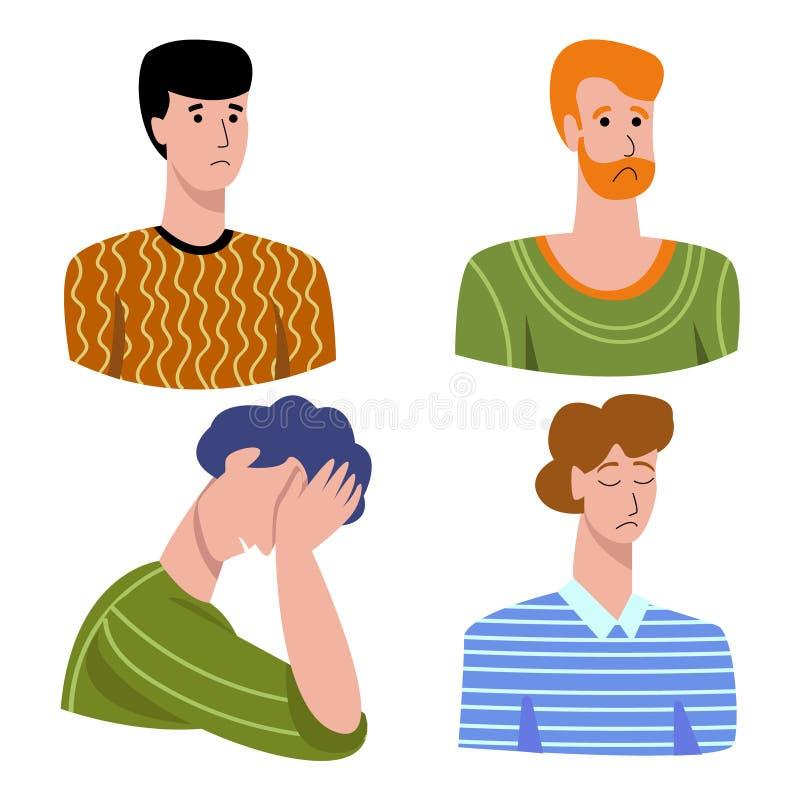 Διανυσματική απεικόνιση με έντονα αρνητικά συναισθήματα στην ανδρική λύπη, λαχτάρα, βάσανα, ντροπή, απογοήτευση, ενοχή ελεύθερη απεικόνιση δικαιώματος