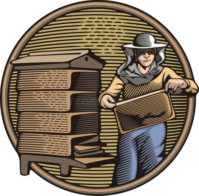 Διανυσματική απεικόνιση μελισσοκόμων στο ύφος ξυλογραφιών ελεύθερη απεικόνιση δικαιώματος
