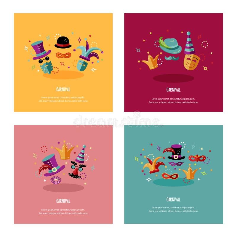 Διανυσματική απεικόνιση με καρναβάλι και τα εορταστικά αντικείμενα ελεύθερη απεικόνιση δικαιώματος