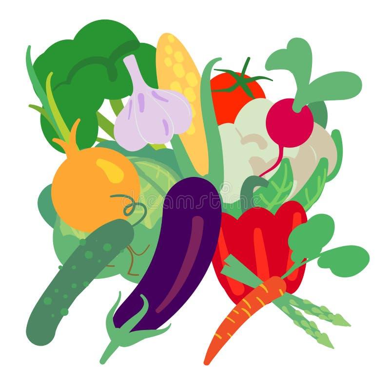 Διανυσματική απεικόνιση με συρμένα τα χέρι λαχανικά Προϊόντα αγροτικής αγοράς Μπρόκολο, κουνουπίδι, αγγούρι, ντομάτα, καλαμπόκι,  απεικόνιση αποθεμάτων