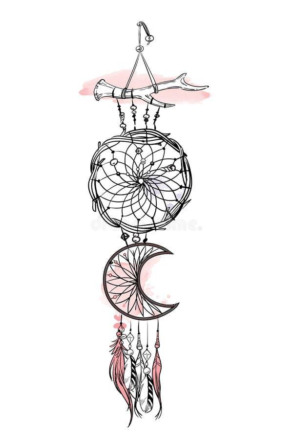 Διανυσματική απεικόνιση με συρμένο χέρι catcher ονείρου Κτυπήματα και λεκέδες βουρτσών Watercolor Περίκομψα εθνικά στοιχεία, φτερ απεικόνιση αποθεμάτων