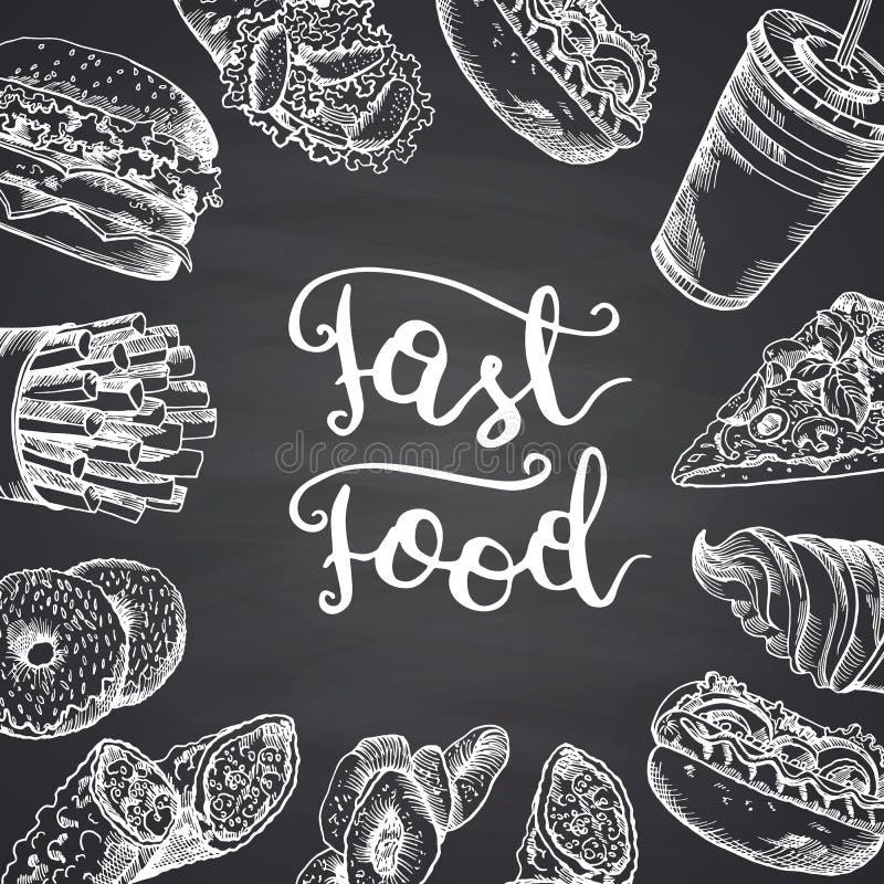 Διανυσματική απεικόνιση με τα άσπρα στοιχεία περιγράμματος γρήγορου φαγητού απεικόνιση αποθεμάτων
