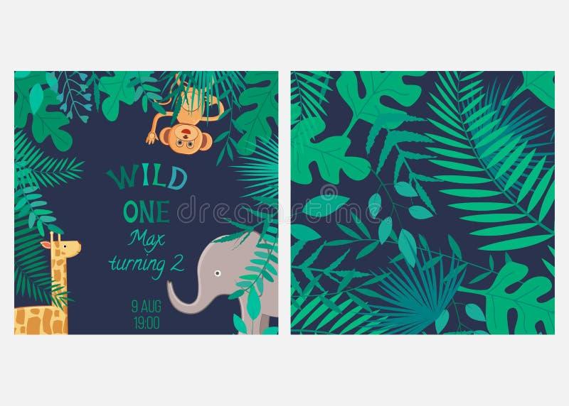 Διανυσματική απεικόνιση με τα ζώα και τις άγρια περιοχές ένα κινούμενων σχεδίων επιγραφής και άνευ ραφής σχέδιο με τα φύλλα διανυσματική απεικόνιση