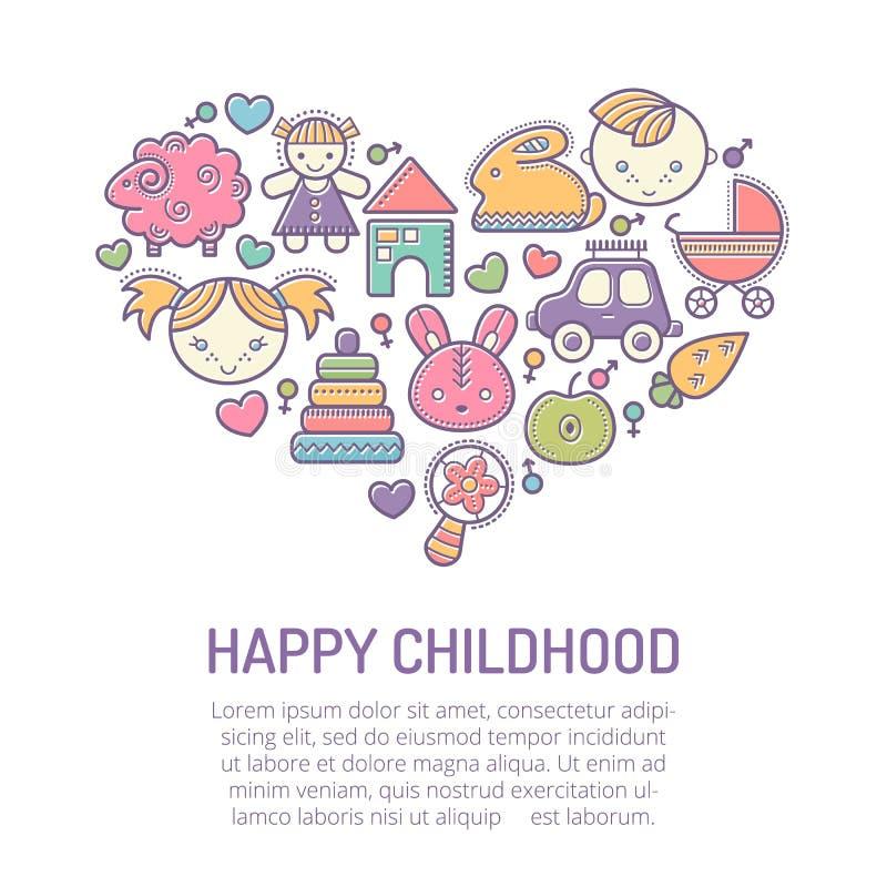Διανυσματική απεικόνιση με τα κτυπημένα εικονίδια των παιδιών που διαμορφώνουν μια μορφή καρδιών διανυσματική απεικόνιση