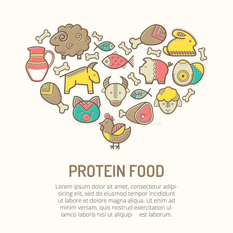 Διανυσματική απεικόνιση με τα περιγραμμένα εικονίδια τροφίμων που διαμορφώνουν μια μορφή καρδιών διανυσματική απεικόνιση