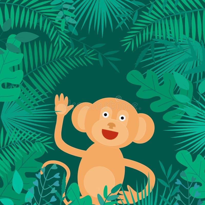 Διανυσματική απεικόνιση με τα τροπικά φύλλα και πίθηκος στο σκοτεινό υπόβαθρο ελεύθερη απεικόνιση δικαιώματος