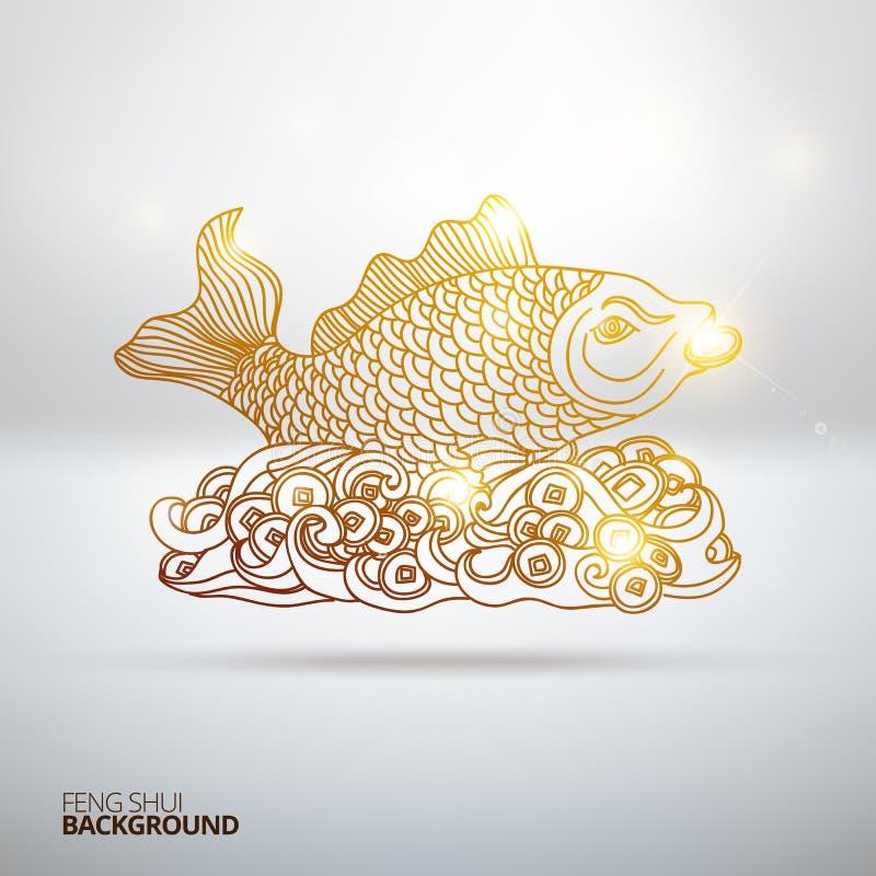 Διανυσματική απεικόνιση με τα ψάρια Feng Shui απεικόνιση αποθεμάτων
