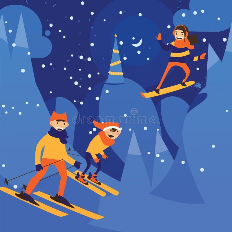 Διανυσματική απεικόνιση με τη σκηνή νύχτας της νύχτας Χριστουγέννων και της κάνοντας σκι οικογένειας Ευτυχής δραστηριότητα στους  ελεύθερη απεικόνιση δικαιώματος