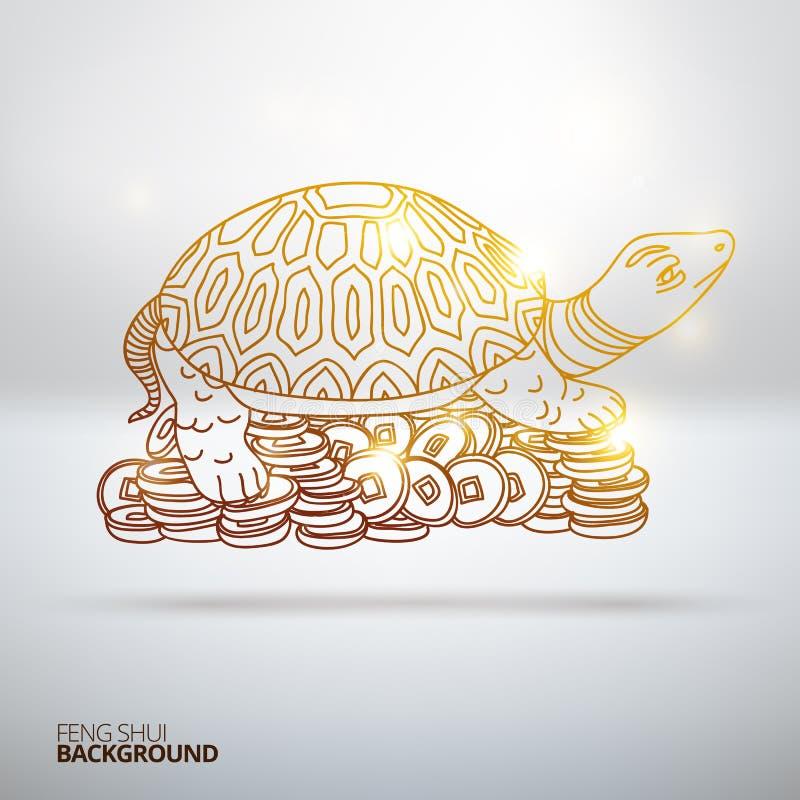 Διανυσματική απεικόνιση με τη χελώνα Feng Shui διανυσματική απεικόνιση