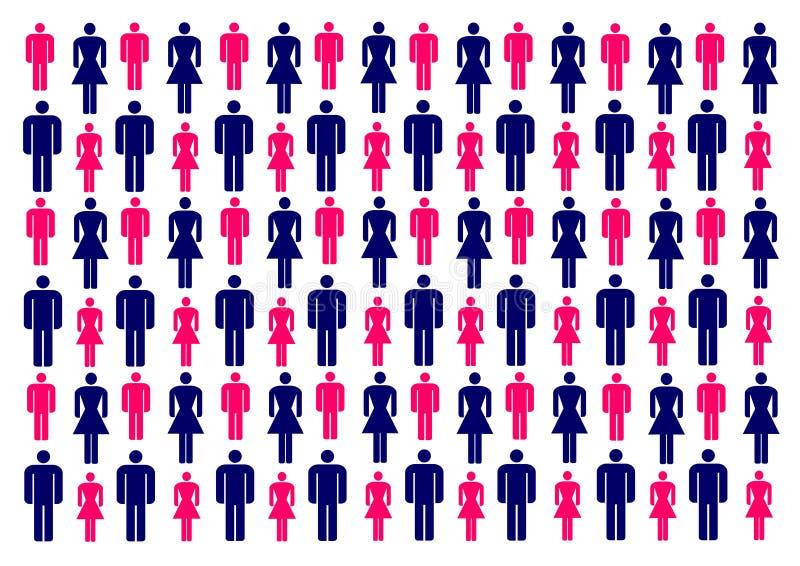 Διανυσματική απεικόνιση με τις ζωηρόχρωμες σκιαγραφίες των ανδρών και των γυναικών ελεύθερη απεικόνιση δικαιώματος