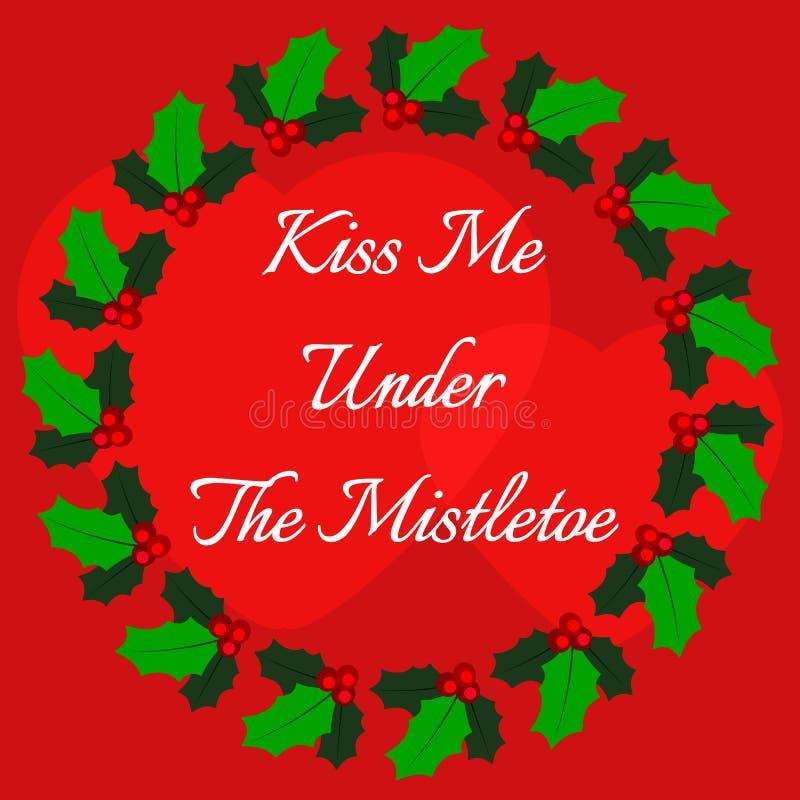 Διανυσματική απεικόνιση με τις παραδοσιακές εγκαταστάσεις Χριστουγέννων Με φιλήστε κάτω από το γκι ελεύθερη απεικόνιση δικαιώματος