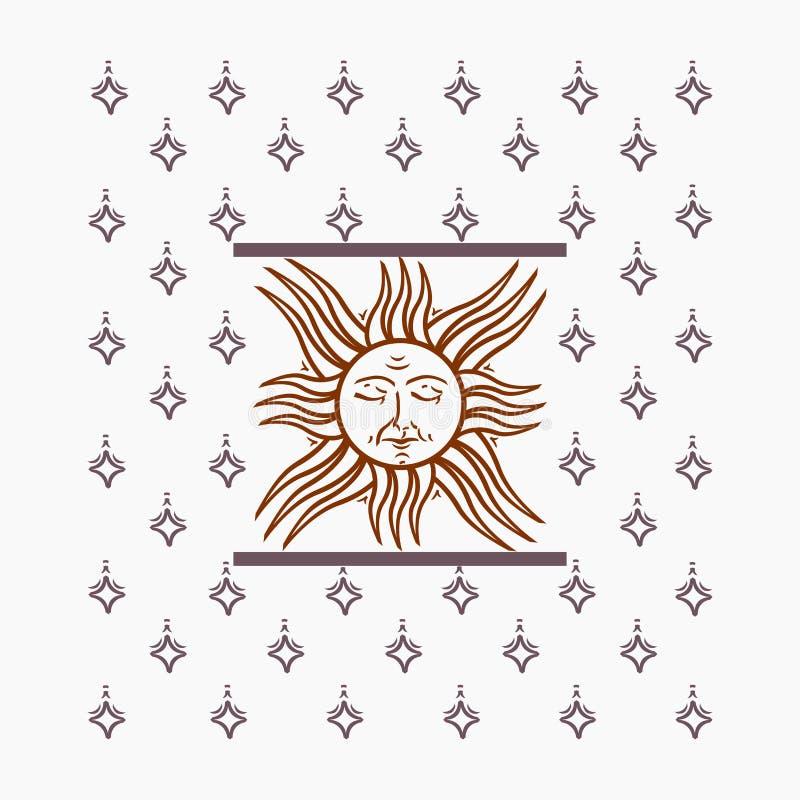 Διανυσματική απεικόνιση με τον ήλιο και τα αστέρια στοκ εικόνες