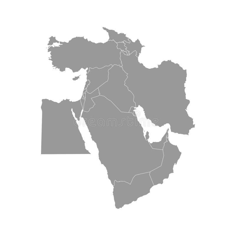 Διανυσματική απεικόνιση με τον απλουστευμένο χάρτη των ασιατικών χωρών Η Μέση Ανατολή δηλώνει τα σύνορα της Τουρκίας, Γεωργία, Αρ ελεύθερη απεικόνιση δικαιώματος