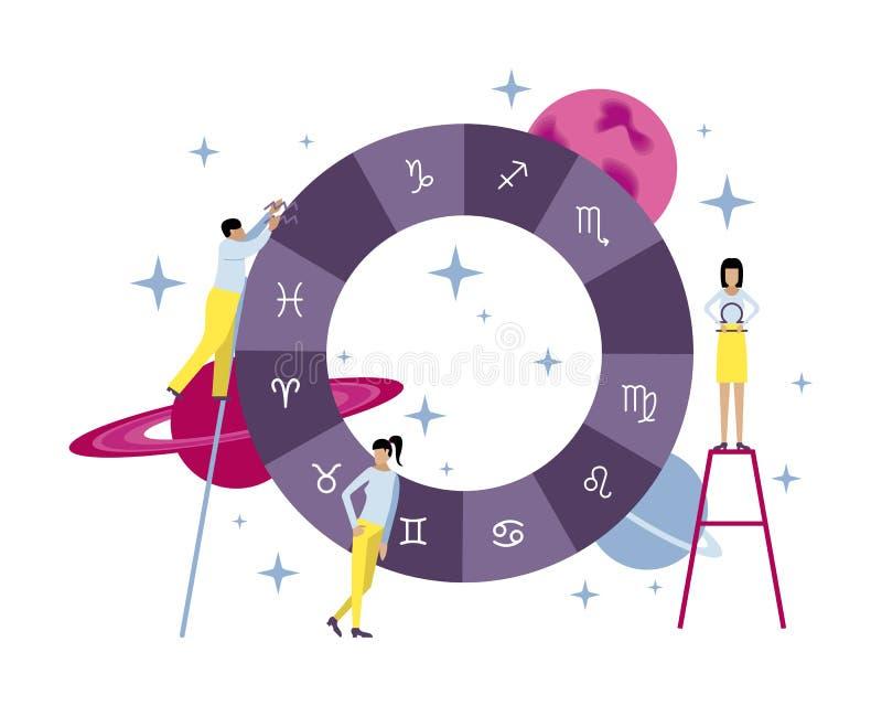 Διανυσματική απεικόνιση με τους μικρούς ανθρώπους Δημιουργία του γενέθλιου ελεύθερη απεικόνιση δικαιώματος