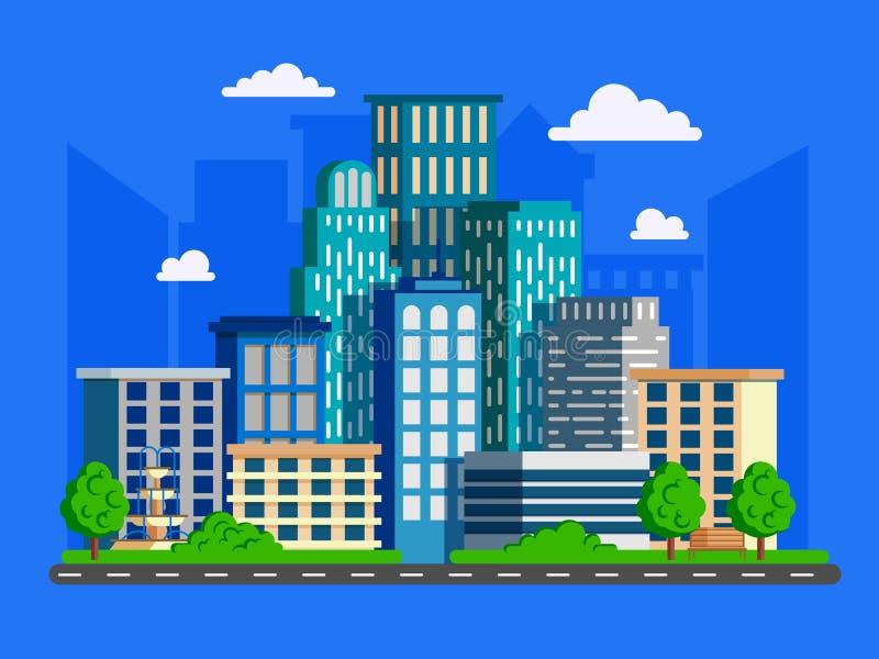 Διανυσματική απεικόνιση με τους ουρανοξύστες στο επίπεδο σχέδιο Μεγάλο πράσινο μ ελεύθερη απεικόνιση δικαιώματος