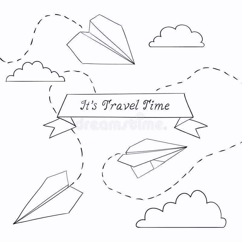 Διανυσματική απεικόνιση με το αεροπλάνο εγγράφου στοκ εικόνες με δικαίωμα ελεύθερης χρήσης