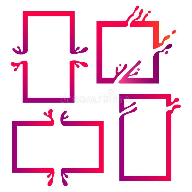 Διανυσματική απεικόνιση με το αφηρημένο ζωηρόχρωμο τετράγωνο Αφηρημένος παφλασμός, υγρή μορφή Υπόβαθρο για την αφίσα, κάλυψη, έμβ διανυσματική απεικόνιση