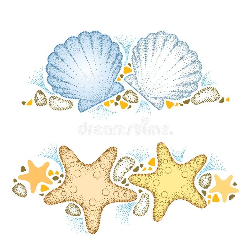 Διανυσματική απεικόνιση με το διαστιγμένο αστέρι αστεριών ή θάλασσας και το κοχύλι ή το όστρακο θάλασσας και χαλίκια που απομονών απεικόνιση αποθεμάτων