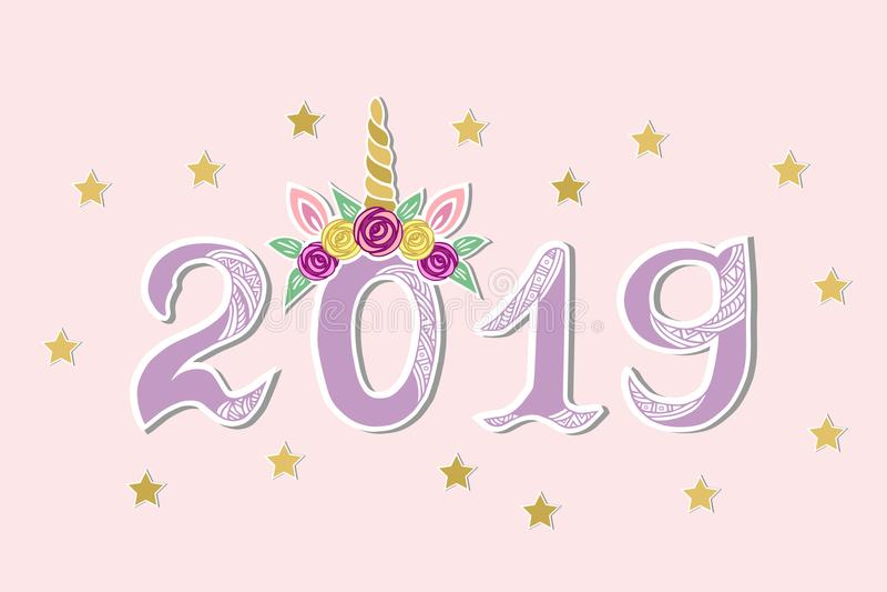 Διανυσματική απεικόνιση με το 2019 και τιάρα μονοκέρων ως κάρτα καλής χρονιάς απεικόνιση αποθεμάτων