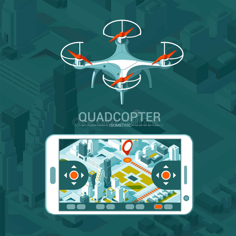 Διανυσματική απεικόνιση με το τετράγωνο copter που πετά πέρα από την πόλη και τον ελεγκτή στο isometric υπόβαθρο Παράδοση κηφήνων διανυσματική απεικόνιση
