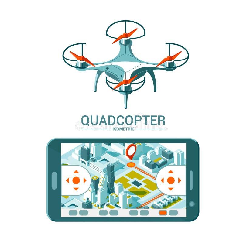 Διανυσματική απεικόνιση με το τετράγωνο copter που πετά πέρα από την πόλη και τον ελεγκτή στο isometric υπόβαθρο Παράδοση κηφήνων απεικόνιση αποθεμάτων