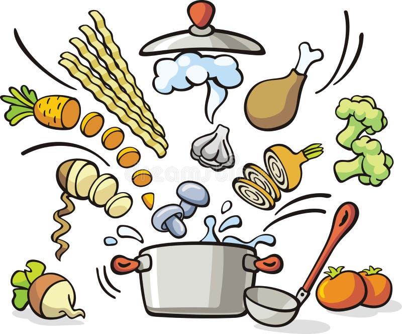 Μαγείρεμα - προετοιμασία σούπας απεικόνιση αποθεμάτων