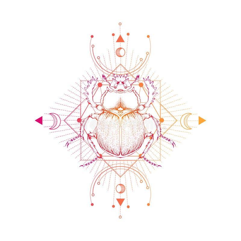 Διανυσματική απεικόνιση με το χέρι που επισύρεται την προσοχή scarab και ιερό γεωμετρικό σύμβολο στο άσπρο υπόβαθρο Αφηρημένο από απεικόνιση αποθεμάτων