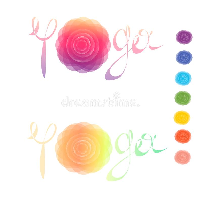Διανυσματική απεικόνιση με το chakra συμβόλων Σχέδιο mandala κύκλων και συρμένη χέρι εγγραφή Χρωματισμένος ελεύθερη απεικόνιση δικαιώματος