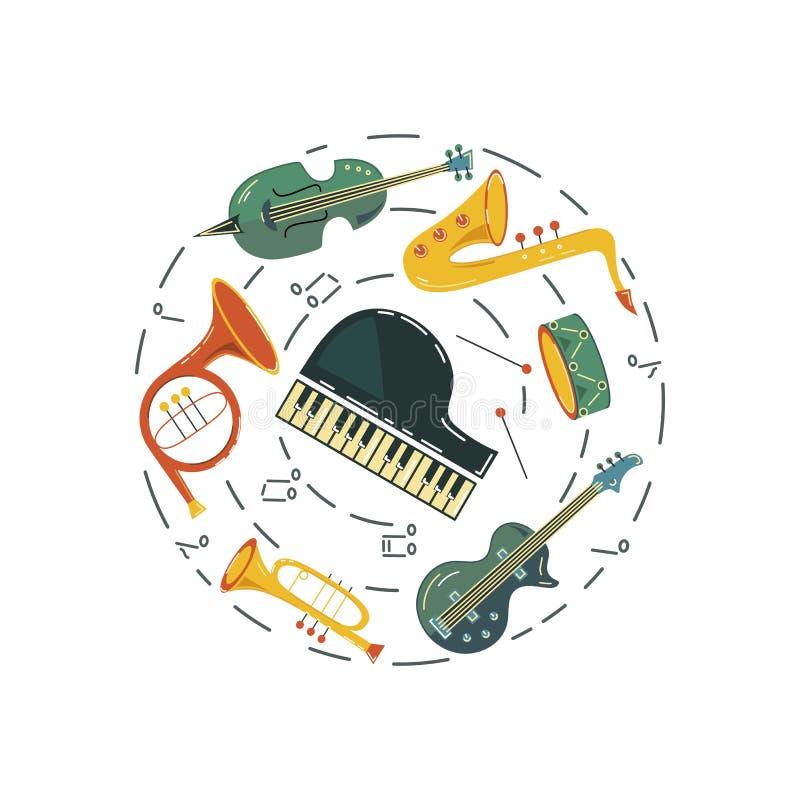 Διανυσματική απεικόνιση με το saxophone, κιθάρα, βιολί, γαλλικό κέρατο ελεύθερη απεικόνιση δικαιώματος