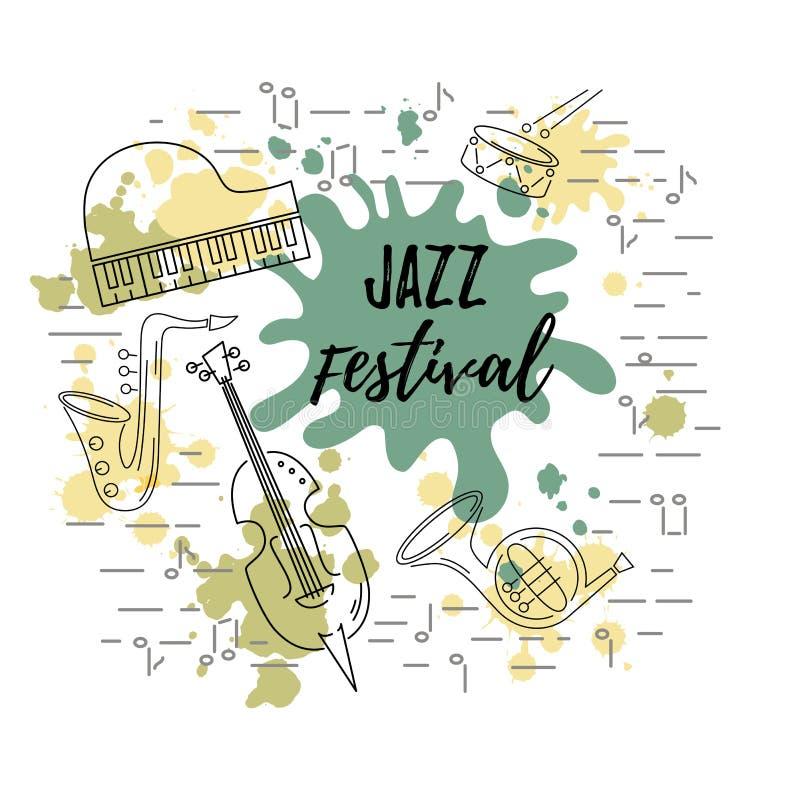 Διανυσματική απεικόνιση με το saxophone, πιάνο, βιολί, γαλλικό κέρατο, τύμπανο απεικόνιση αποθεμάτων