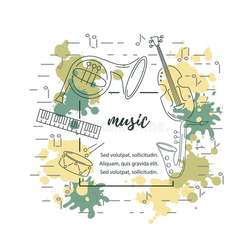 Διανυσματική απεικόνιση με το saxophone, πιάνο, βιολί, γαλλικό κέρατο, τύμπανο διανυσματική απεικόνιση