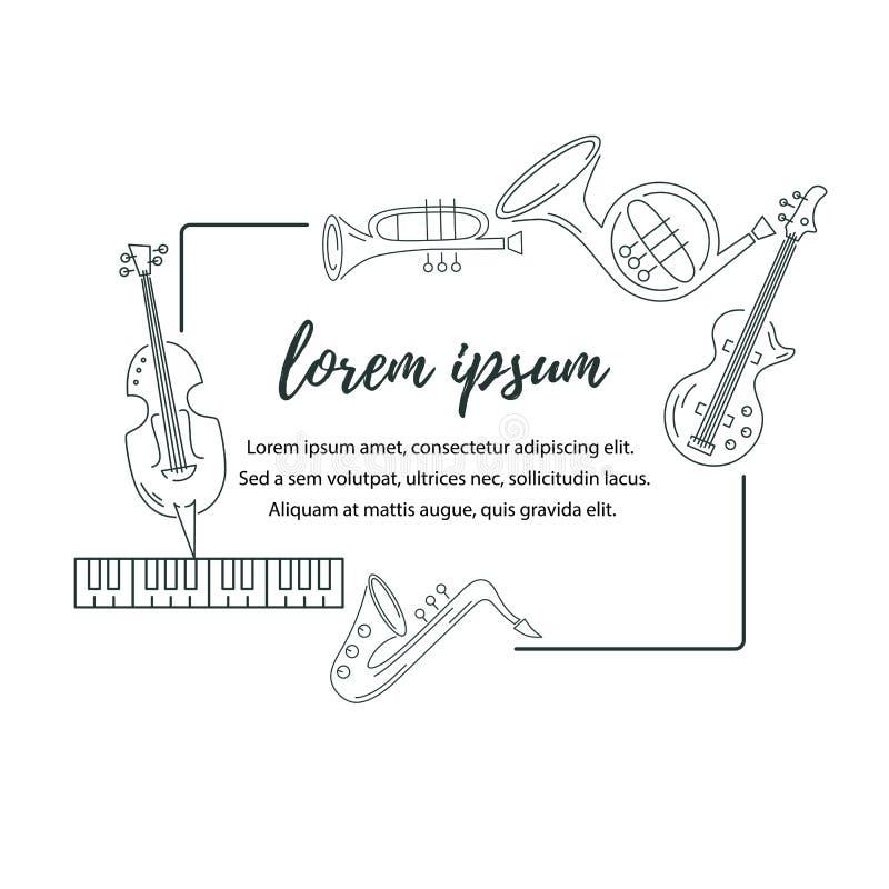 Διανυσματική απεικόνιση με το saxophone, πιάνο, βιολί, γαλλικό κέρατο, τύμπανο, κιθάρα, σάλπιγγα απεικόνιση αποθεμάτων