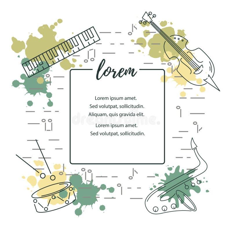 Διανυσματική απεικόνιση με το saxophone, πιάνο, βιολί, τύμπανο ελεύθερη απεικόνιση δικαιώματος