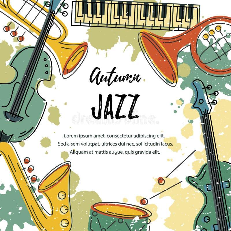 Διανυσματική απεικόνιση με το saxophone, πιάνο, κιθάρα, βιολί, γαλλικό κέρατο ελεύθερη απεικόνιση δικαιώματος